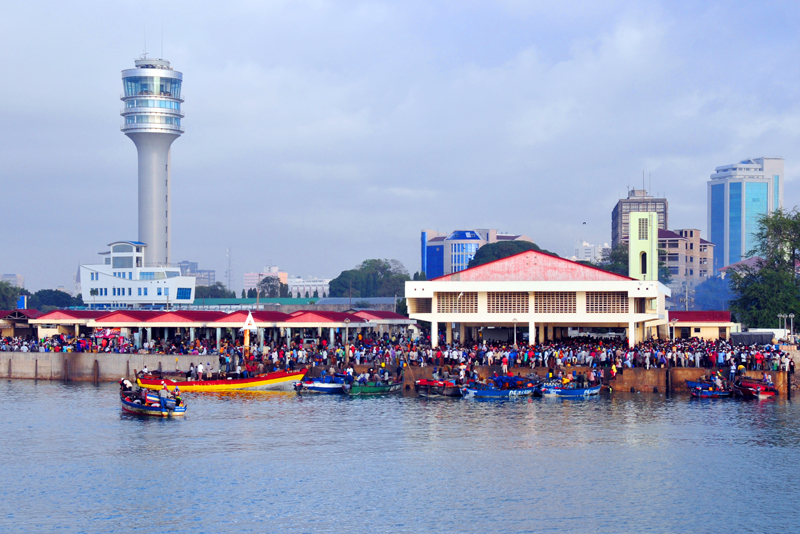 Kivukoni Fish Market and Harbor Tower, Dar Es Salaam, Tanzania