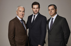 The new Trussardi (from left) is led by Andrea Morante, chairman of QuattroR, Tomaso Trussardi, chairman of the new entity, and Francesco Conte, chief executive of QuattroR.